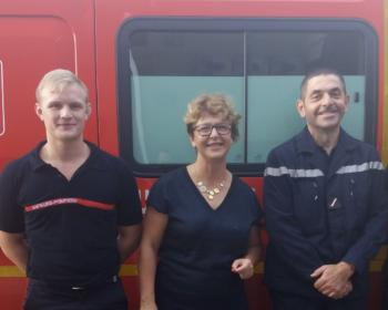 Nadia Sollogoub en visite au centre de secours Nevers Saint-Éloi le 5 octobre 2018