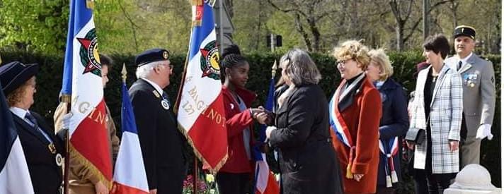 Nadia SOLLOGOUB, présente le lundi 8 avril 2019 à Nevers lors de la cérémonie commémorative et pédagogique lors du Rallye Mémoire