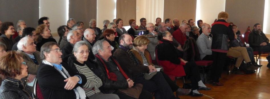 L'assemblée lors de la réunion de l'Association des Moulins de la Nièvre en 2018