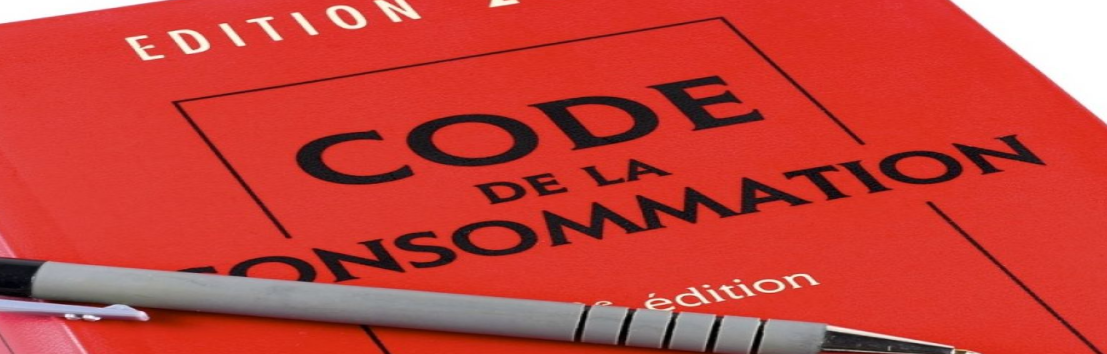page de couverture du code de la consommation avec un stylo