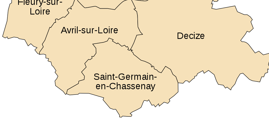 Carte de situation de Saint-Germain-Chassenay entre Avril-sur-Loire et Decize