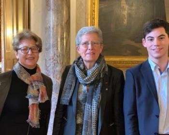 Nadia SOLLOGOUB et Geneviève DARRIEUSSECQ entourées de la famille VINCENT au Sénat le mercredi 27 novembre 2019
